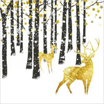 "Christmas Napkins - ""Golden Deer in the Black Woods"""