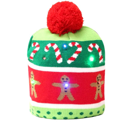 "Christmas Wool Hat - Battery Lit - ""Gingerbreads"""