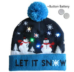 "Christmas Wool Hat - Battery Lit - ""Let it Snow"""