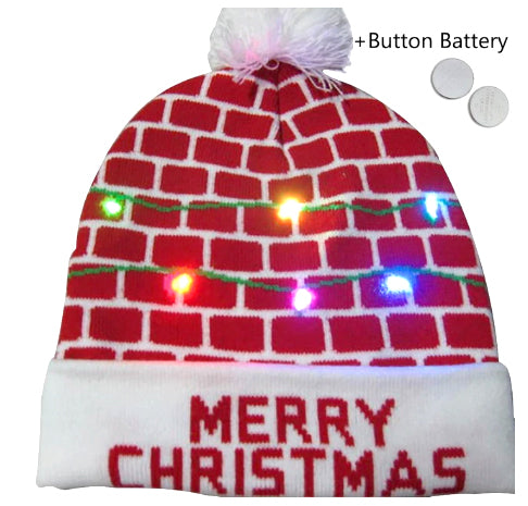 "Christmas Wool Hat - Battery Lit - ""Merry Christmas"""