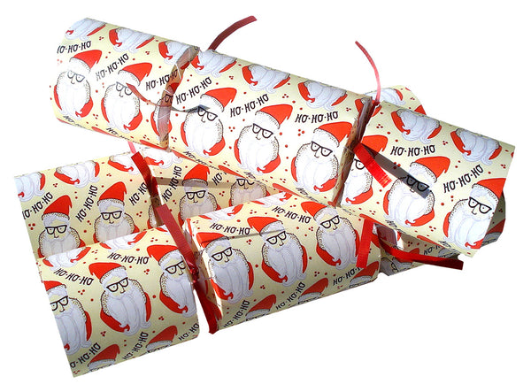 Ho Ho Ho Christmas Crackers with Santa Tree Ornaments