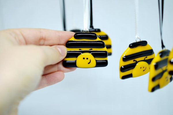 "Artisan Fused Glass Ornaments - ""Busy Bee"""