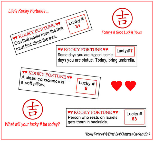 Kooky Fortunes for party crackers featuring prophesy, wisdom and lucky numbers.
