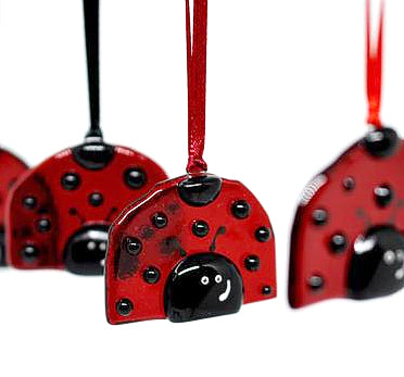 "Fused Glass Ornament - "" LadyBug """