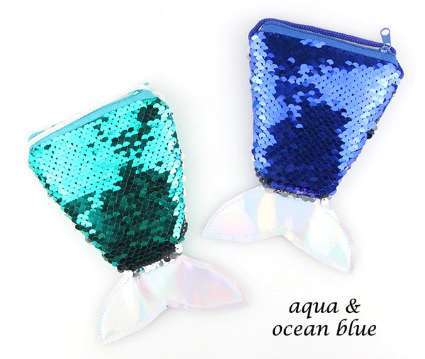 Mermaid Coin Purses - Aqua and Deep Ocean blue