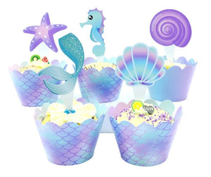 Mermaid cupcake wraps and toppers