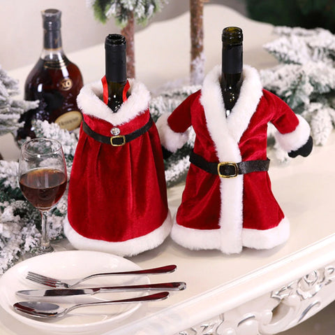 "Wine Bottle Covers | ""Mr & Mrs Claus"""