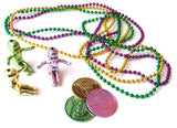 Mardi Gras beads, babies and coins