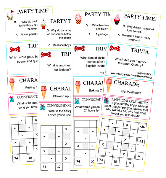 Party Activity Sheets