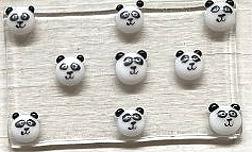 "Hand Made Glass Soapdish - ""Pandas"""