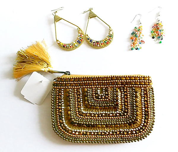 Holiday earrings and purse