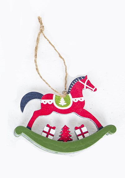 Red wood rocking horse Christmas Tree ornament