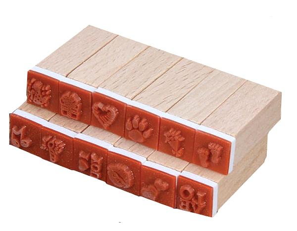 Set of 12 rubber stamps - details
