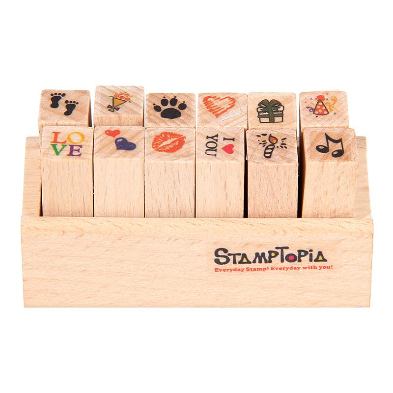 Set of 12 Rubber Stamps