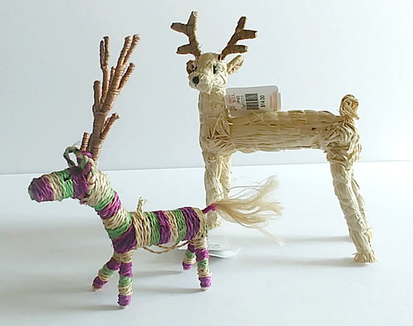 Straw Reindeer Tree Decorations