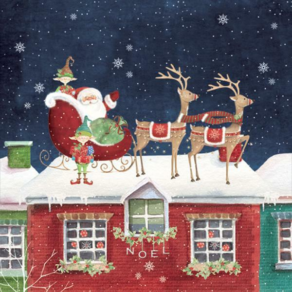 "Christmas Napkins - ""Santa on the Roof"""