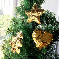 Sequined Tree Ornaments - Tree, Star, Heart