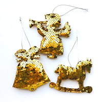 Sequin Christmas Tree Ornaments - Bell, Angel, Rocking Horse - Gold