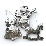 Sequin Christmas Tree Ornaments - Bell, Angel, Rocking Horse - Silver