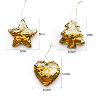 Sequin Christmas Tree Ornaments - Tree, Star, Heart - Measurements