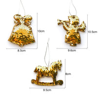 Sequin Christmas Tree Ornaments - Bell, Angel, Rocking Horse - Measurements
