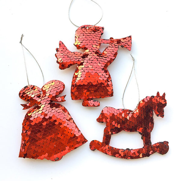 Sequin Christmas Tree Ornaments - Bell, Angel, Rocking Horse - Red