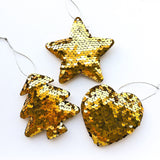 Sequin Christmas Tree Ornaments - Tree, Star, Heart - Gold