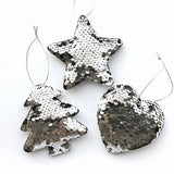 Sequin Christmas Tree Ornaments - Tree, Star, Heart - Silver