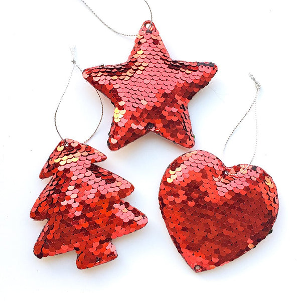 Sequin Christmas Tree Ornaments - Tree, Star, Heart - Red