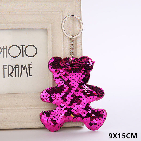 Sequin Teddy Bear Key Chain - Dark Pink