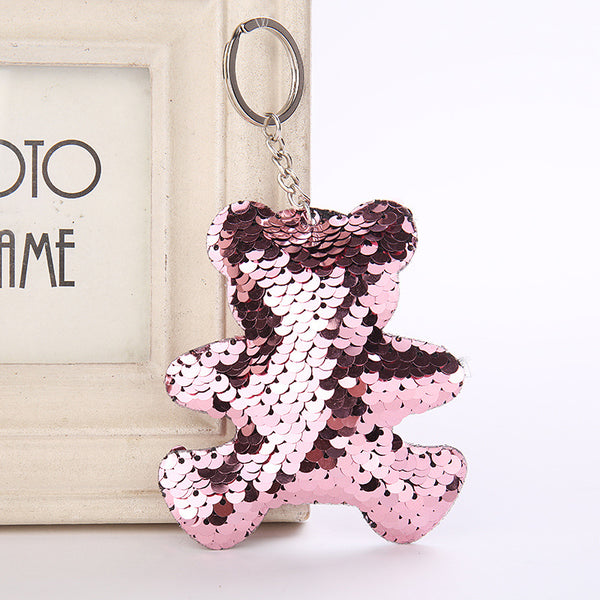 Sequin Teddy Bear Key Chain - Pink