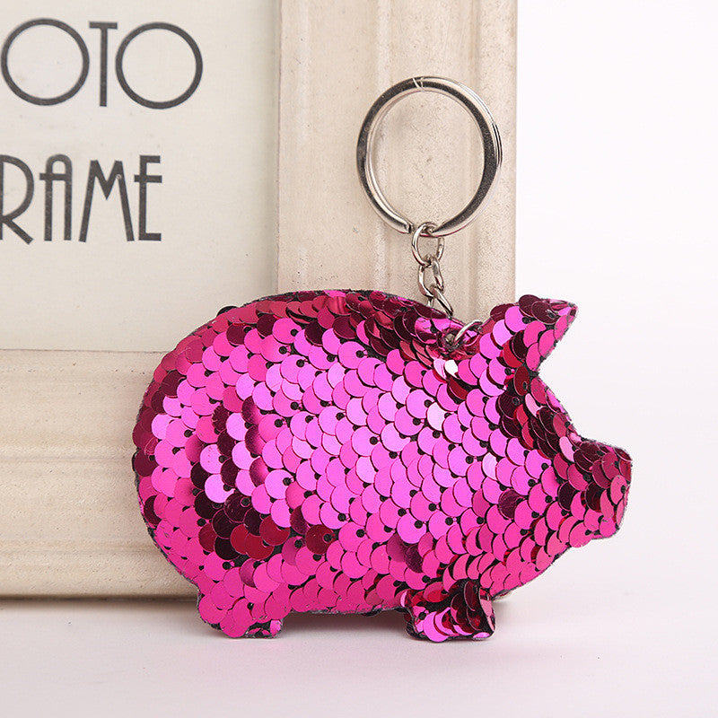 Sequin Pig Key Chain - Dark Pink