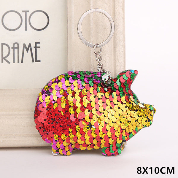 Sequin Pig Key Chain - Rainbow