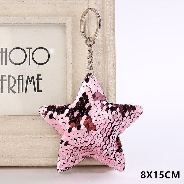 Sequin Star Key Chain - Pink