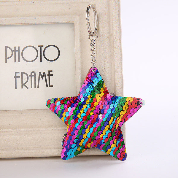 Sequin Star Key Chain - Rainbow