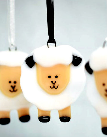 "Artisan Fused Glass Ornaments - ""Sheep"""