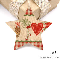 Wood Christmas Tree Ornament - Gingham Star with Stocking, Pine cone & Heart