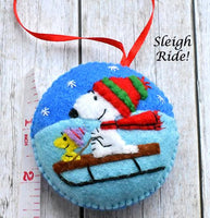 "Felt Tree Ornaments ""Sledding in the Snow!"""