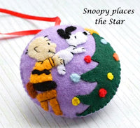 "Felt Tree Ornaments ""Snoopy Places the Star on the Tree Top"""