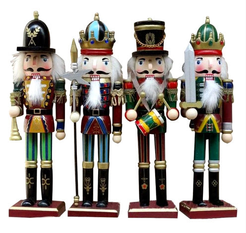 4 Colourful Wood Nutcrackers - 30 cm tall