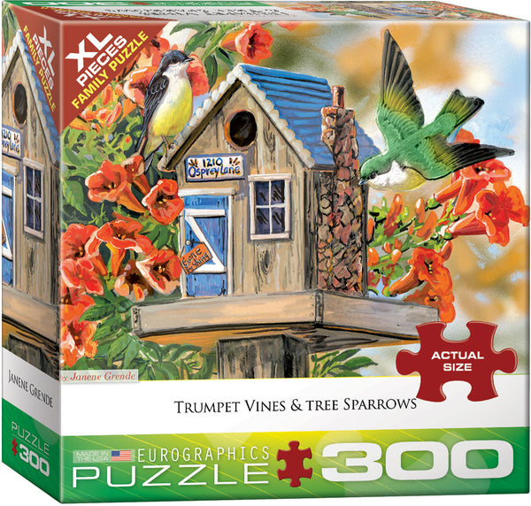 "Jigsaw Puzzle | ""Trumpet Vines & Tree Sparrow"""