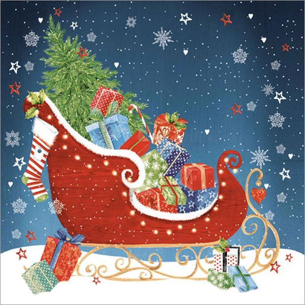 "Christmas Napkins - ""Holiday Sleigh"""