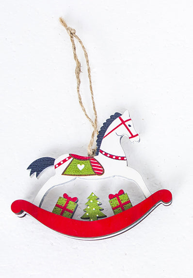 White wood rocking horse Christmas Tree ornament