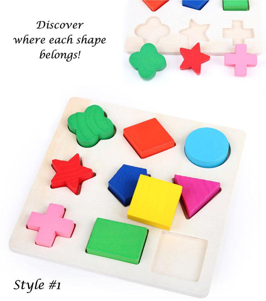 Wood Puzzle with Geometric Shapes - Easy Level