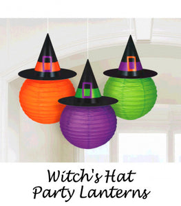 Witch Hat Paper Lanterns - Purple, Orange and Green