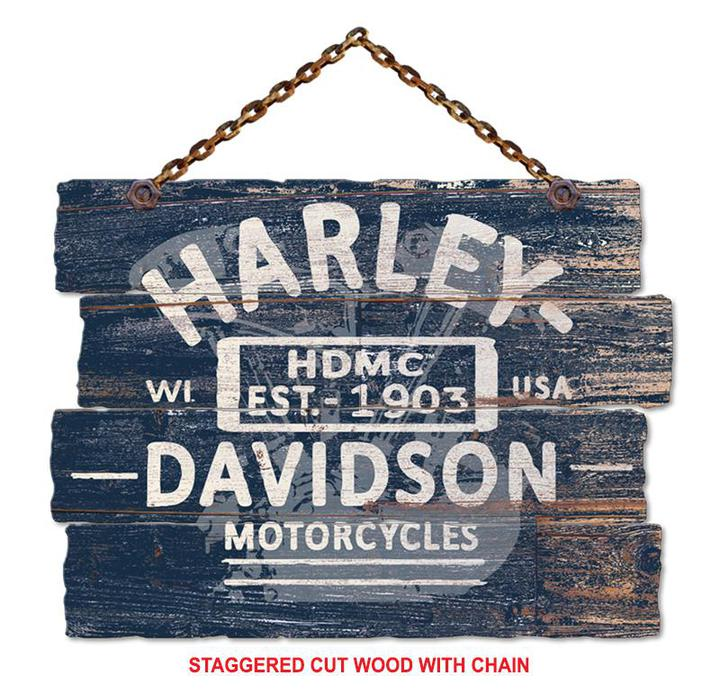 Blue Staggered Cut Wood Harley V-Twin w/Chain