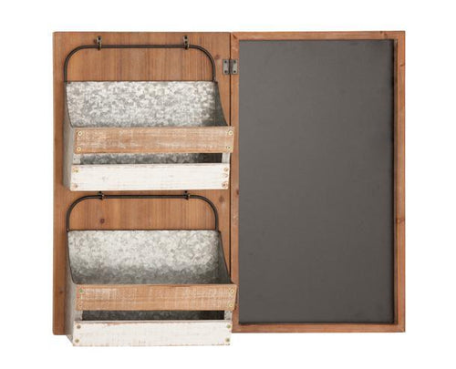 Wood Metal Chalkboard Wall Rack