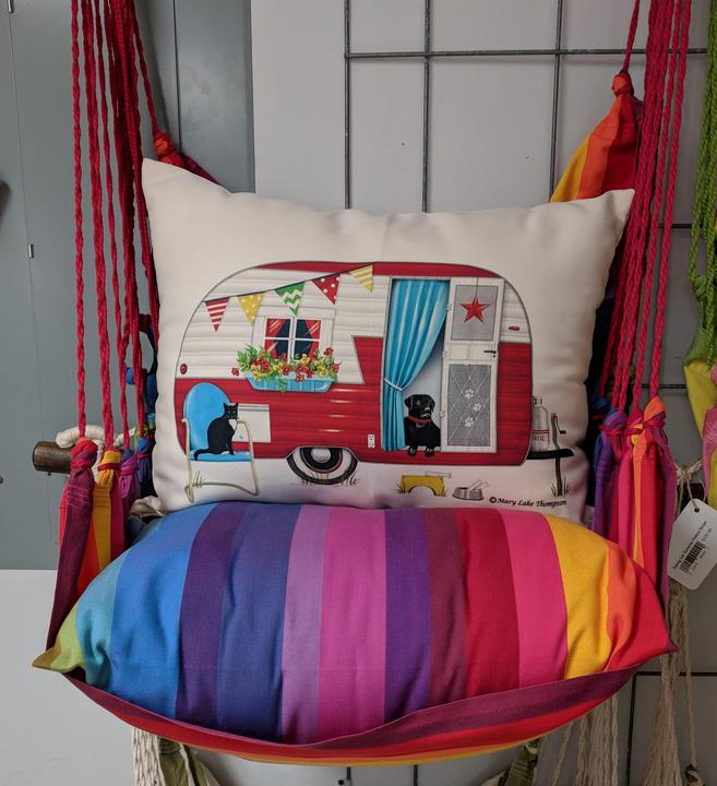 Rainbow Stripe Swing w/ Retro Camper Pillow