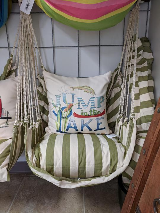 Summer Palms Swing w/ Jump In the Lake Pillow