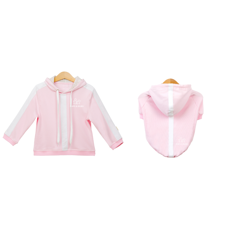 Pups & Bubs Matching Pink Relaxed Hoodie Set (Organic Cotton)